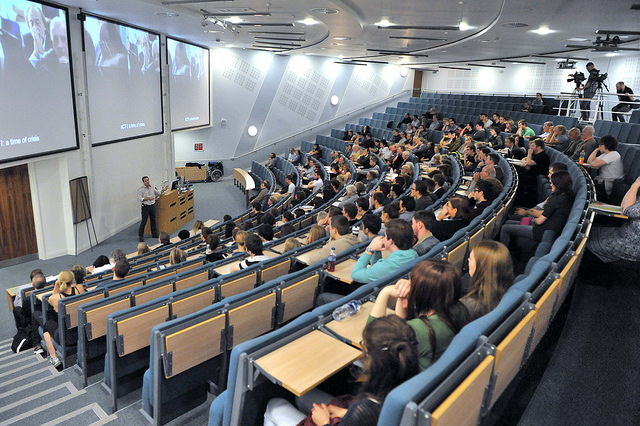 Lecture theatre full of students
