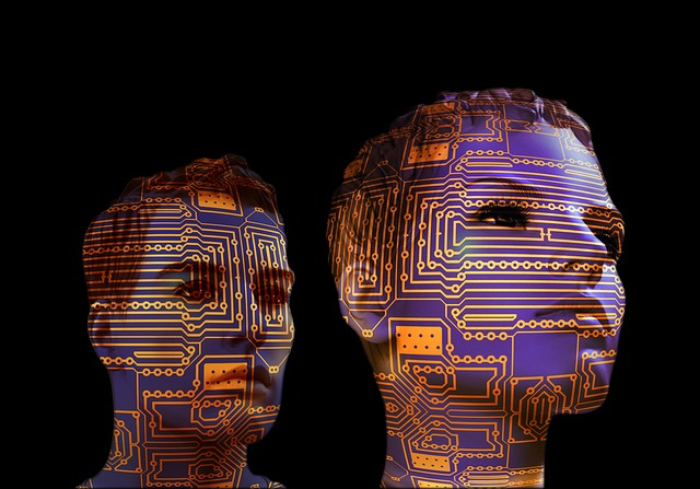 faces covered by circuit board pattern
