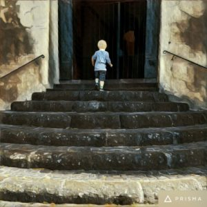 a photo of a young boy walking up stone steps to a dark doorway