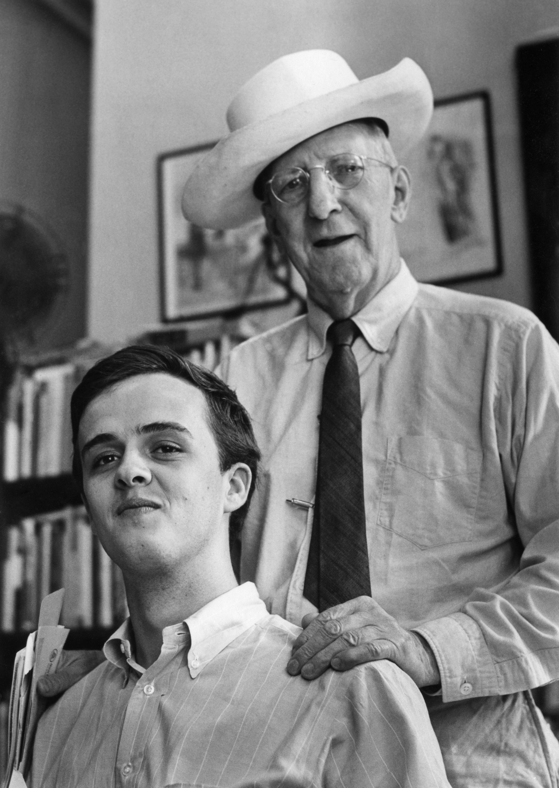 James Tate (left), Pulitzer Prize winner (1992) and MFA graduate of Iowa University , at the Grolier Book Store in 1965 with the owner, Gordon Cairnie. Photo by Elsa Dorfman.